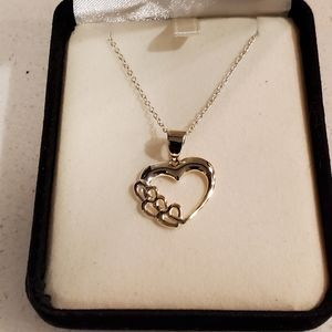 "Heart Necklace Sterling Silver 18"" Length"